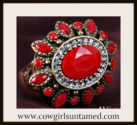 BOHEMIAN COWGIRL RING Red Stone & Crystal Antique Bronze Boho Ring