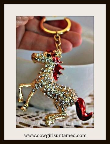 HORSE LOVIN' COWGIRL KEYCHAIN Beautiful Red Enamel and Golden Rhinestone Horse Keychain