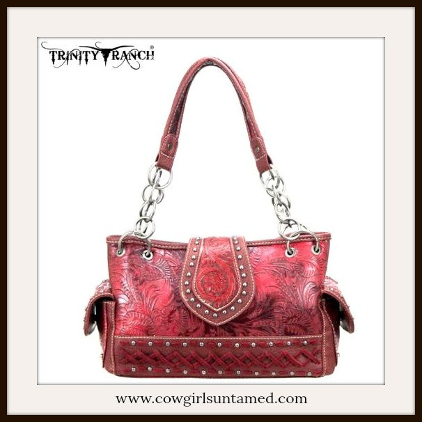 COWGIRL STYLE HANDBAG Red Tooled Silver Studded Leather Handbag