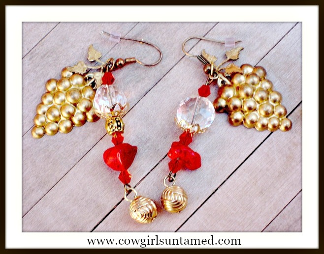 COWGIRL ATTITUDE EARRINGS Wine Lover Grape & Leaf on Red Turquoise Crystal and Gold Earrings