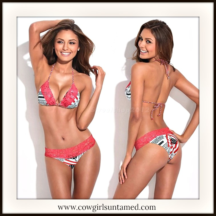 AMERICAN COWGIRL BIKINI American Flag Coral Red Lace Trim DESIGNER Western Bikini
