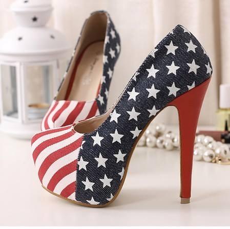 AMERICAN COWGIRL SHOES Platform Red White N Blue Stars N Stripes Flag Western Heels Shoes Pumps