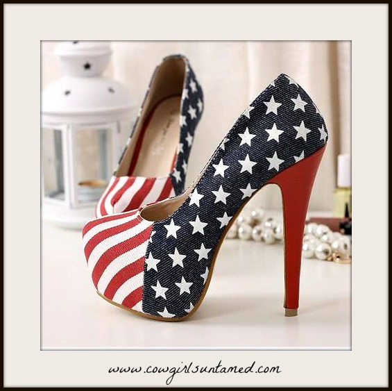 7f0aac3efa4 Red White N Blue Stars N Stripes Flag platform Western Heels Shoes ...
