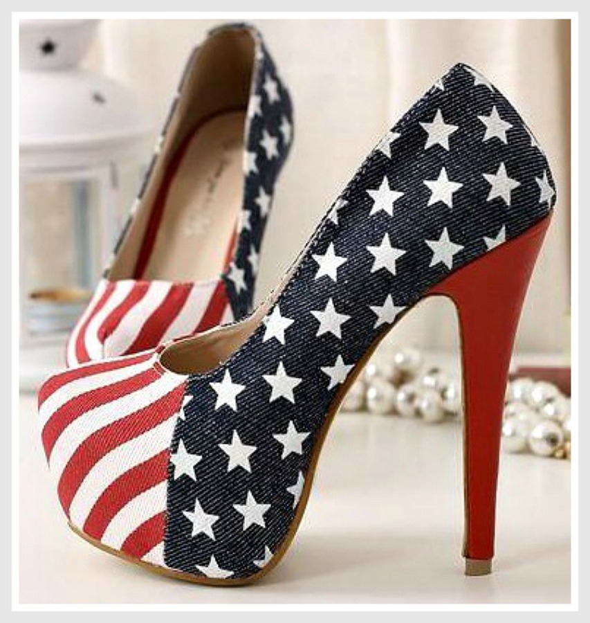 AMERICAN COWGIRL SHOES Platform Red White N Blue Stars N Stripes Flag Western Heels ONLY 2 LEFT 8 & 10
