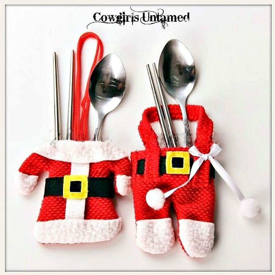 COWGIRL CHRISTMAS DECOR Red and White Santa and Mrs. Claus Christmas Table Western Flatware Holders CHRISTMAS ORNAMENT
