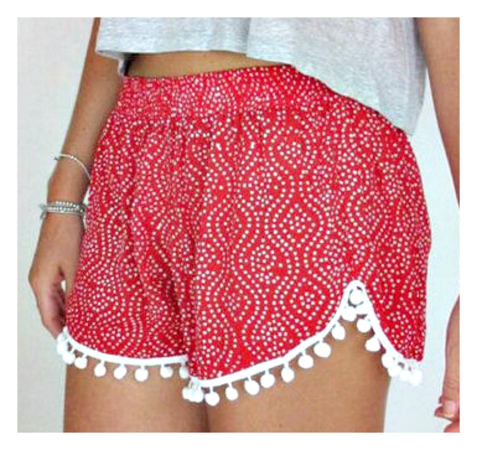 SWEET ESCAPE SHORTS Red and White Polka Dot with White Pom Pom Fringe Shorts