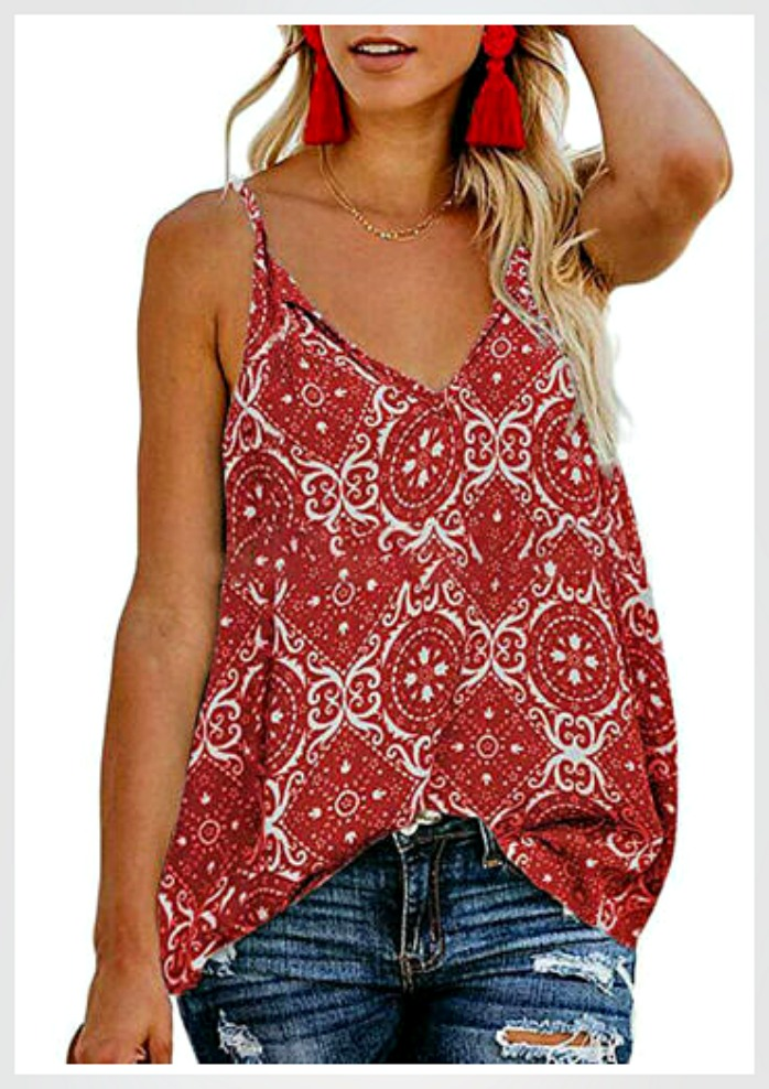 THE CALLIE TOP Red & White Floral Boho Cowgirl Sleeveless Camisole Tank Top S-XL