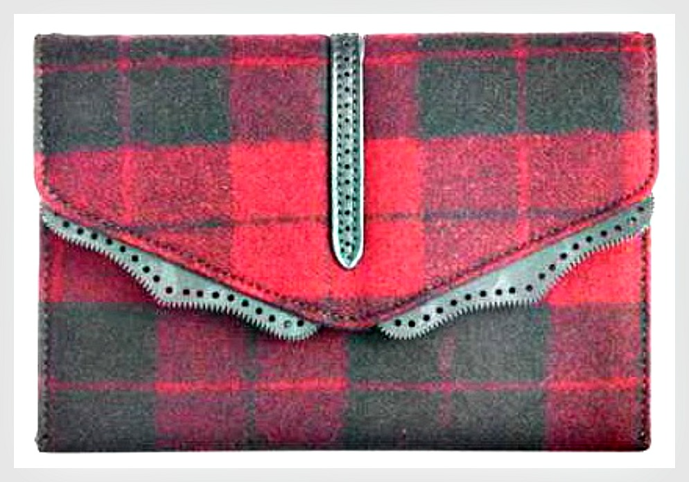 DESIGNER HANDBAG Red & Black Plaid Designer Messenger Bag /Clutch