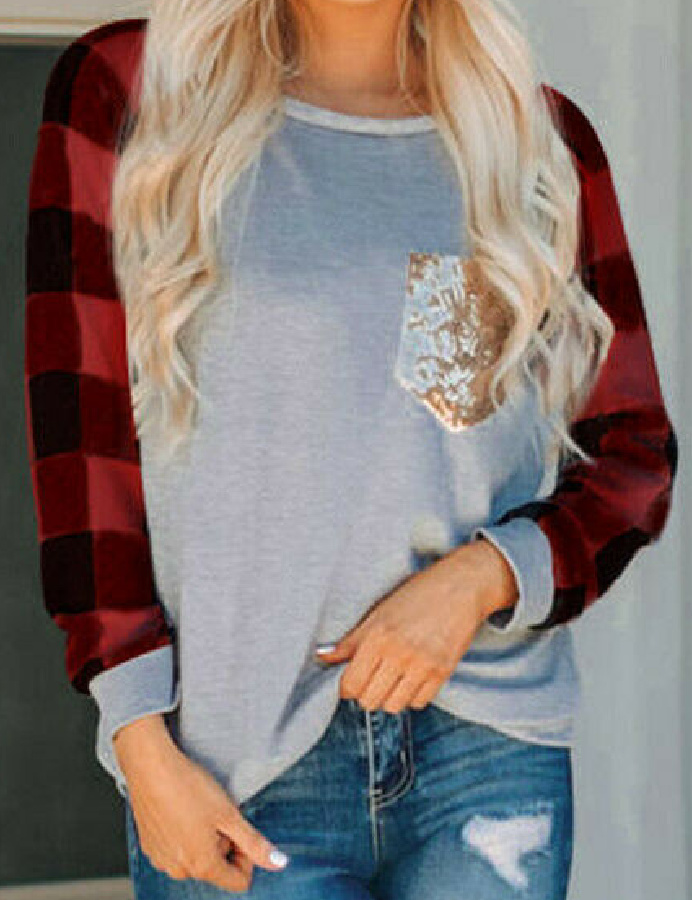 THE SOREN TOP Gold Sequin Black Red Check Plaid Womens Grey Long Sleeve Top LAST ONE L