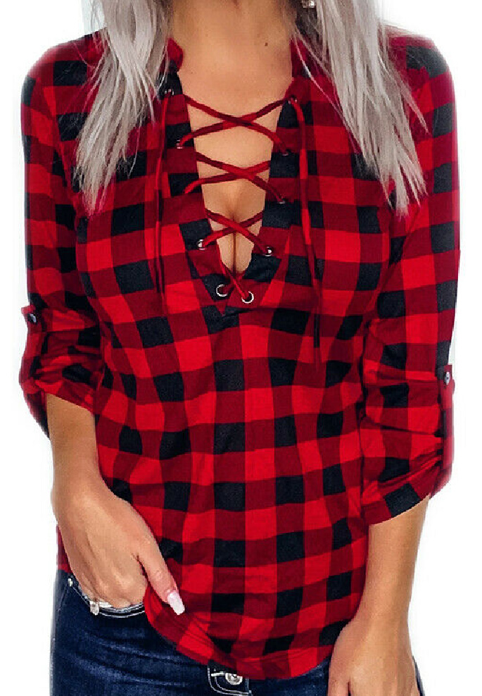 THE SARA TOP Lace Up Long Roll Up Sleeve Womens V Neck Red & Black Plaid Check Shirt