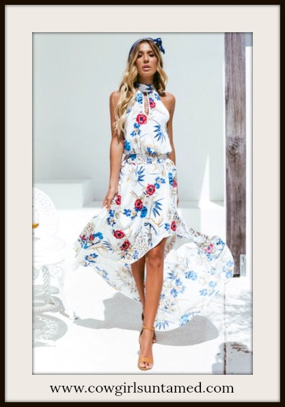 BOHO CHIC DRESS Red Blue Floral High Neck Keyhole Sleeveless High Low White Dress