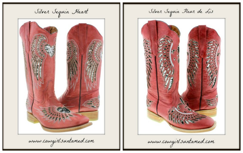 COWGIRL STYLE BOOTS Silver Sequin Angel Wings Genuine Red Leather Square Toe Boots