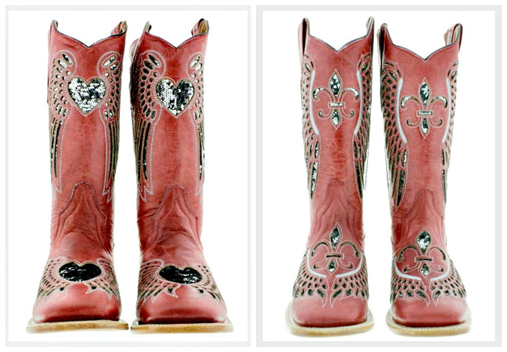COWGIRL SEQUIN BOOTS Silver Sequin Angel Wings Genuine Red Leather Square Toe Boots Heart or Fleur de Lis Size 5-9