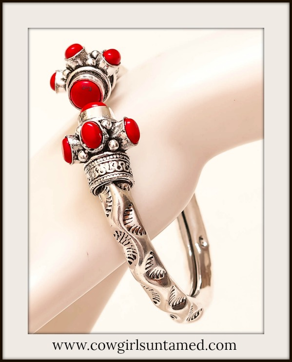 BOHEMIAN COWGIRL BRACELET Red Coral & Etched Antique Silver Open Bracelet