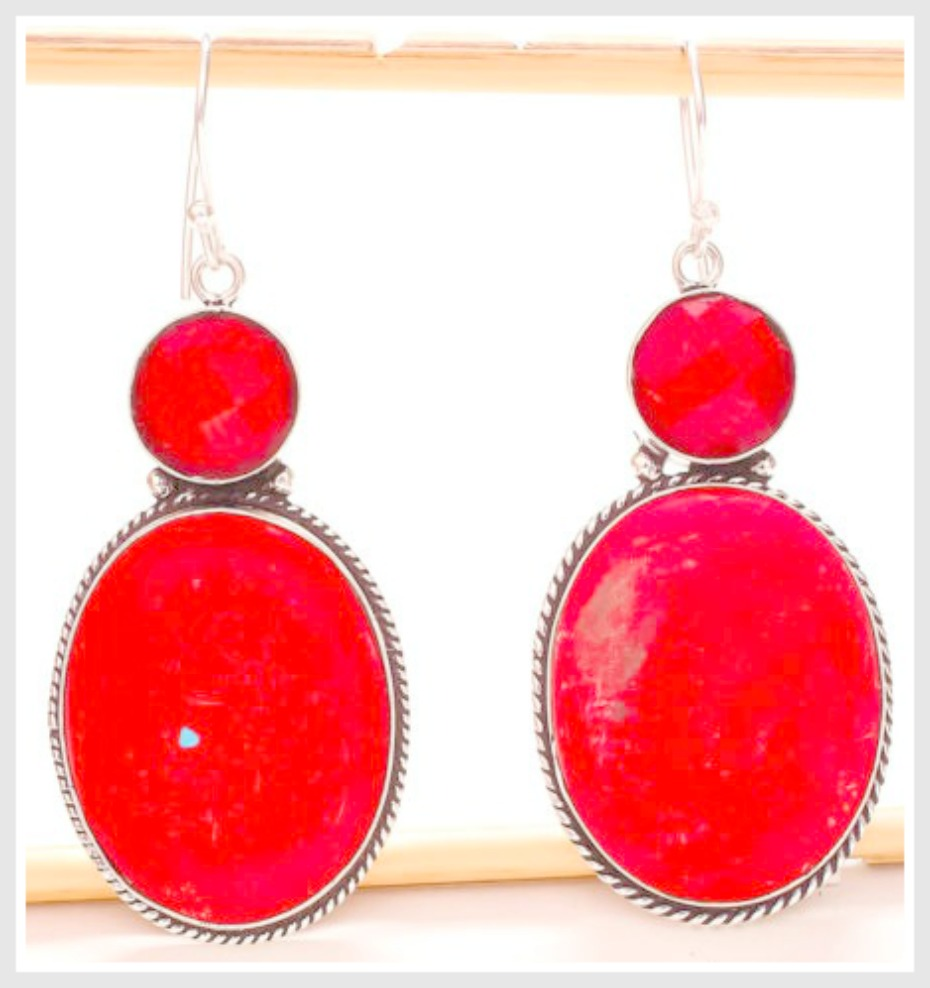 COWGIRL STYLE EARRINGS Red Coral Gemstone Silver Boho Dangle Earrings