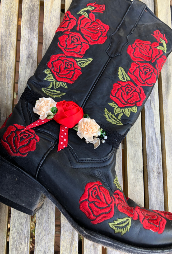 WILDFLOWER BOOT GARTER Red Cream Silk Flowers Green Crystal Polka Dot Ribbon Horse Charm on Black Lace Boot Garter