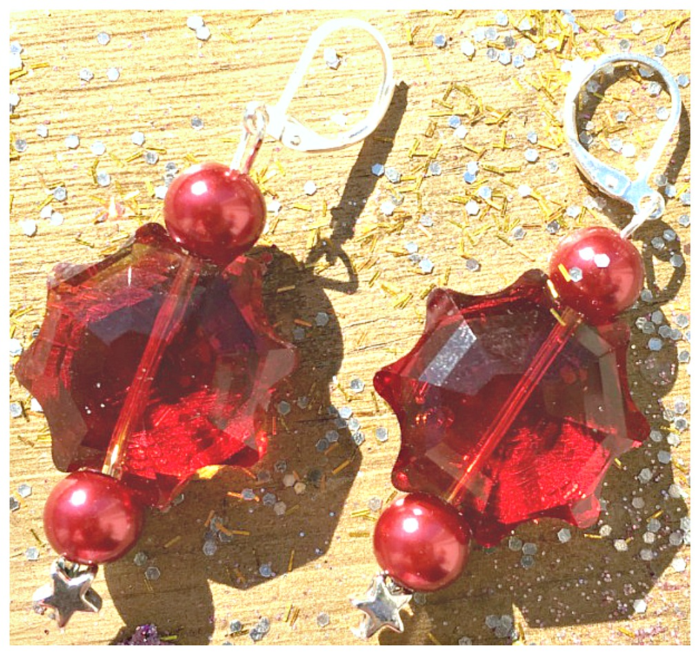 VINTAGE COWGIRL EARRINGS Red Pearl Silver Star & Large Red Crystal Earrings