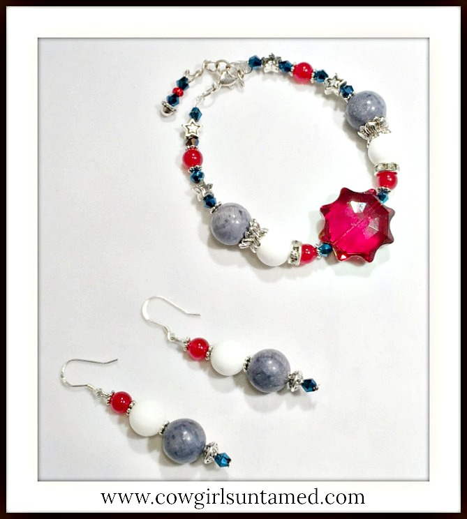 AMERICAN PRIDE JEWELRY SET Red White and Blue Gemstone Crystal Star Earrings & Bracelet Set
