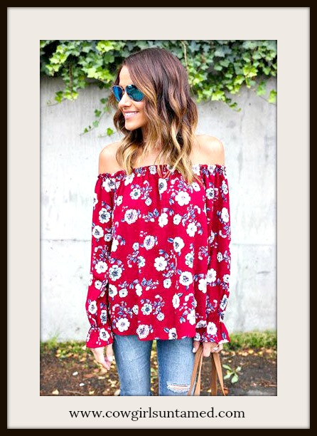 MAGNOLIAS BLOOM TOP Grey and White Floral Off the Shoulder Long Sleeve Red Blouse