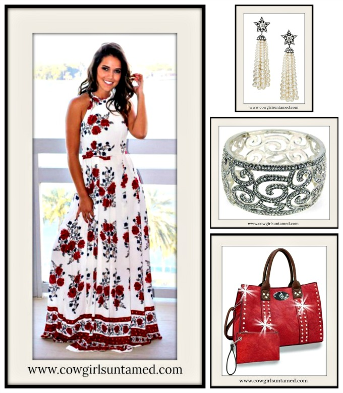 1708f596c4 High Neck Racerback Sleeveless Red Floral White Boho Maxi Dress, casual,  summer, bridesmaid, wedding, party, event, red, white, green, floral, long,  ...