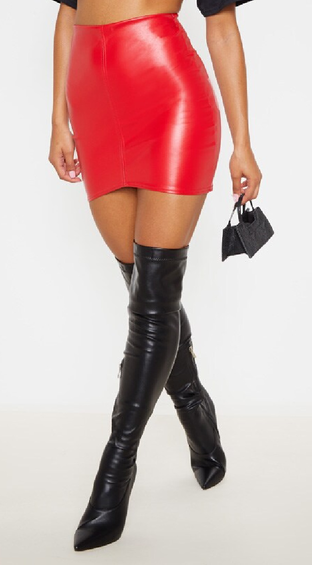 SEXY LITTLE THING Red Faux Leather Stretchy Pull On Short Mini Skirt LAST ONE 6