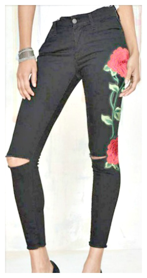 BOHEMIAN COWGIRL JEANS Floral Embroidered Stretchy Distressed Black Skinny Jeans  ALSO PLUS SIZES