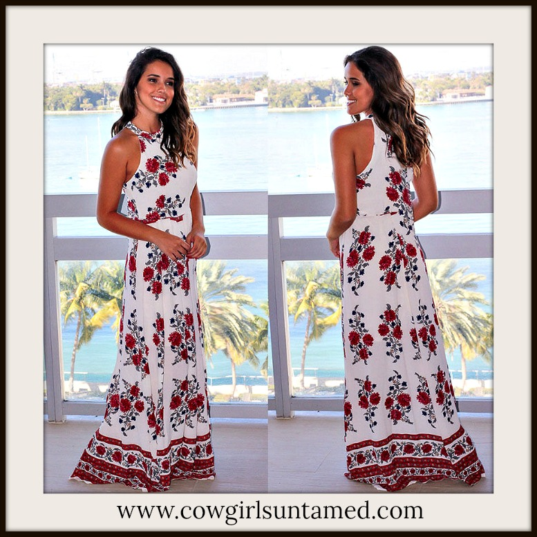 BOHO CHIC DRESS High Neck Racerback Red Floral White Boho Maxi Dress