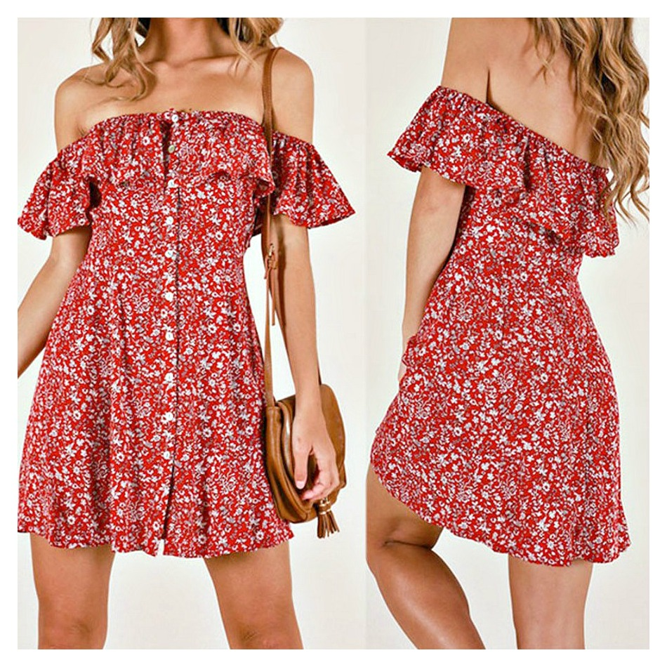 THE OLIVIA DRESS Off the Shoulder Flounce Red Floral A-Line Mini Dress