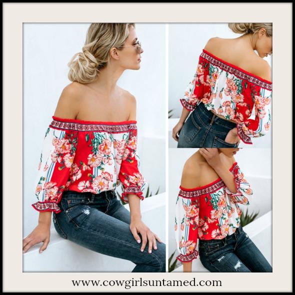 BOHO CHIC TOP Red Floral Off the Shoulder 3/4 Sleeve Elastic Hemline Blouse