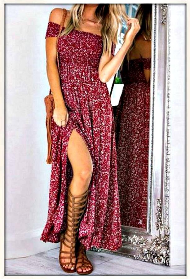 5b0207b137 Smocked Top Off the Shoulder High Slit Boho Maxi Dress