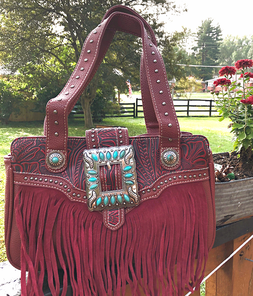 TRINITY RANCH FRINGE HANDBAG Red Floral Tooled Genuine Leather Fringe Silver Turquoise Concho Western Purse