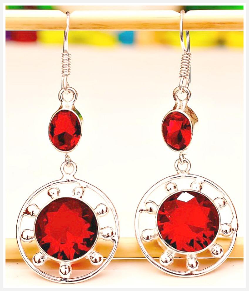 COWGIRL STYLE EARRINGS Red Garnet Gemstone Silver Dangle Earrings
