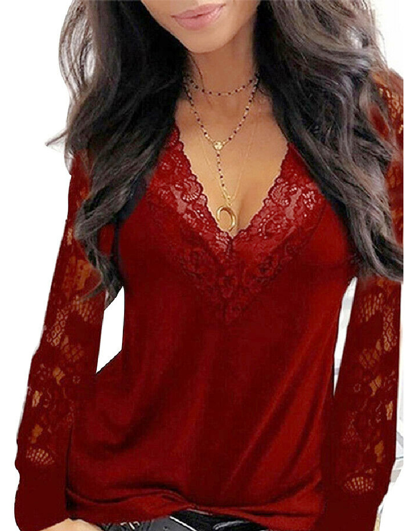 THE RENEE TOP Sheer Lace Long Sleeve Casual Wine Red V Neck Womens Shirt S-2XL