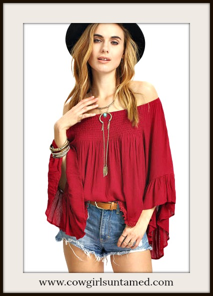 BOHEMIAN COWGIRL TOP Deep Red Off the Shoulder Flounce Ruffle Long Bell Sleeve Blouse