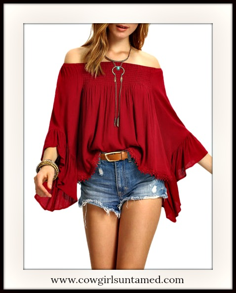 8e6b1f276b677 Deep Red Off the Shoulder Flounce Ruffle Long Bell Sleeve Boho Blouse