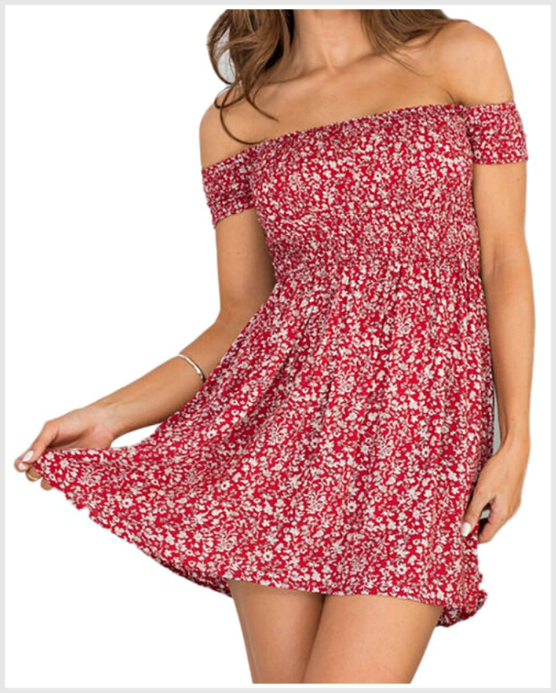 THE KACIE DRESS Red Floral Smocked Off the Shoulder Short Mini Boho Dress
