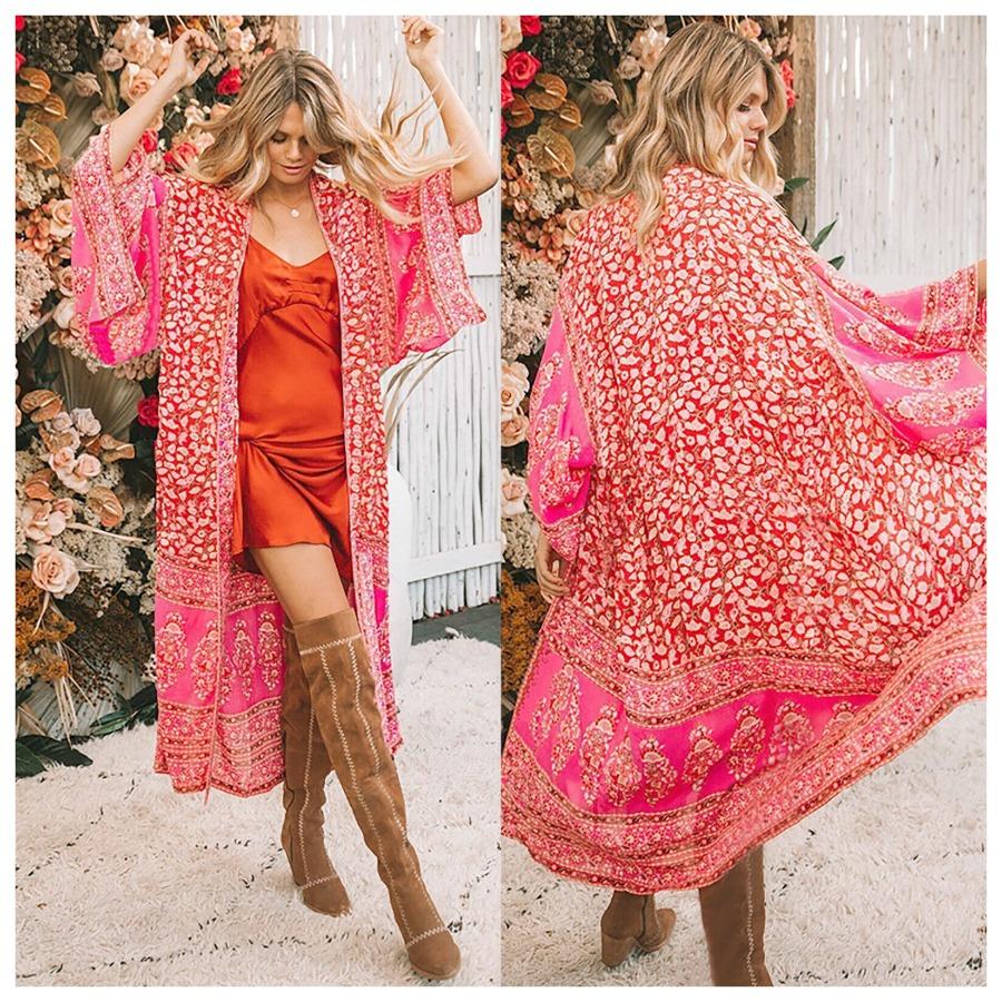 THE JILL KIMONO Red Pink & White Mixed Pattern Kimono Sleeve Chiffon Open Boho Duster Cardigan