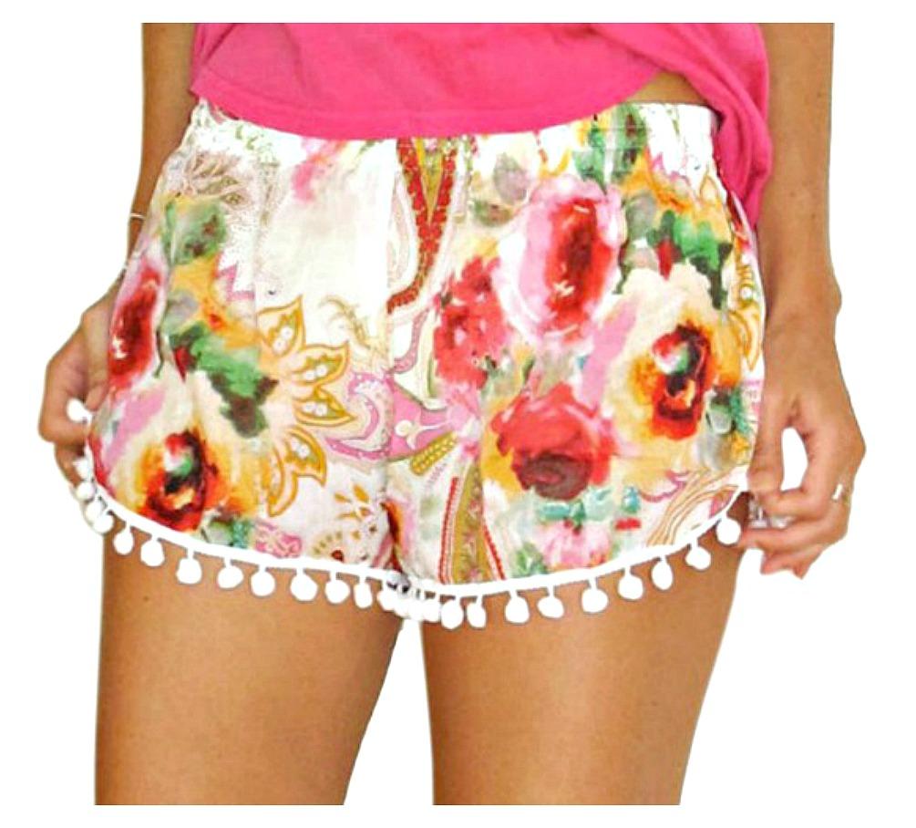 VINTAGE BOHEMIAN SHORTS Hot Pink Floral Paisley Elastic Waist Pom Pom Trim Shorts
