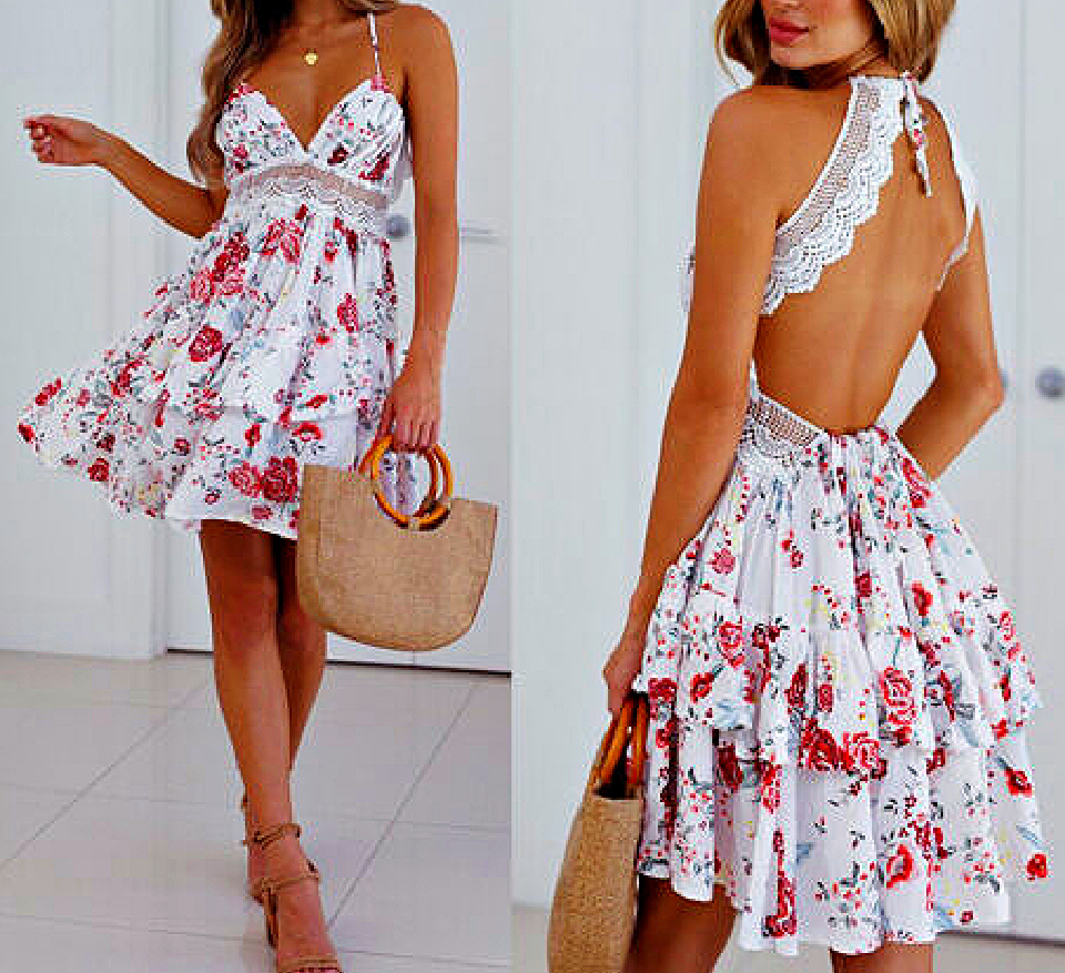 THE BRIANNA DRESS Red & Pink Floral V Neck White Lace Open Back Tiered Ruffle Short Summer Dress S-L