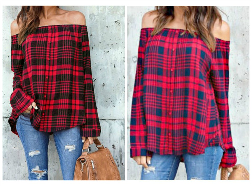 WILDFLOWER TOP Red Plaid Off the Shoulder Long Sleeve Top ONLY 2 LEFT!