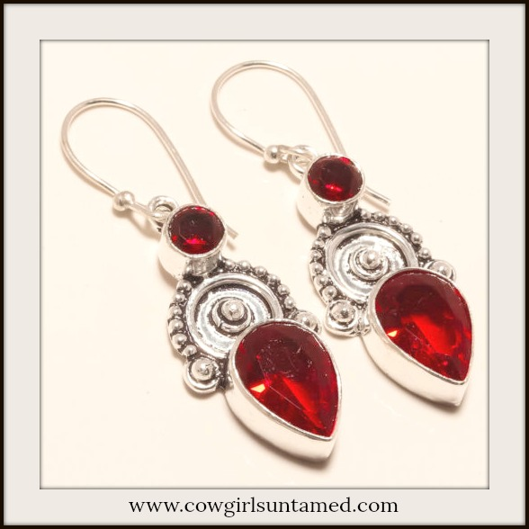 COWGIRL GYPSY EARRINGS Vintage Style Red Garnet Gemstone 925 Sterling Silver Earrings