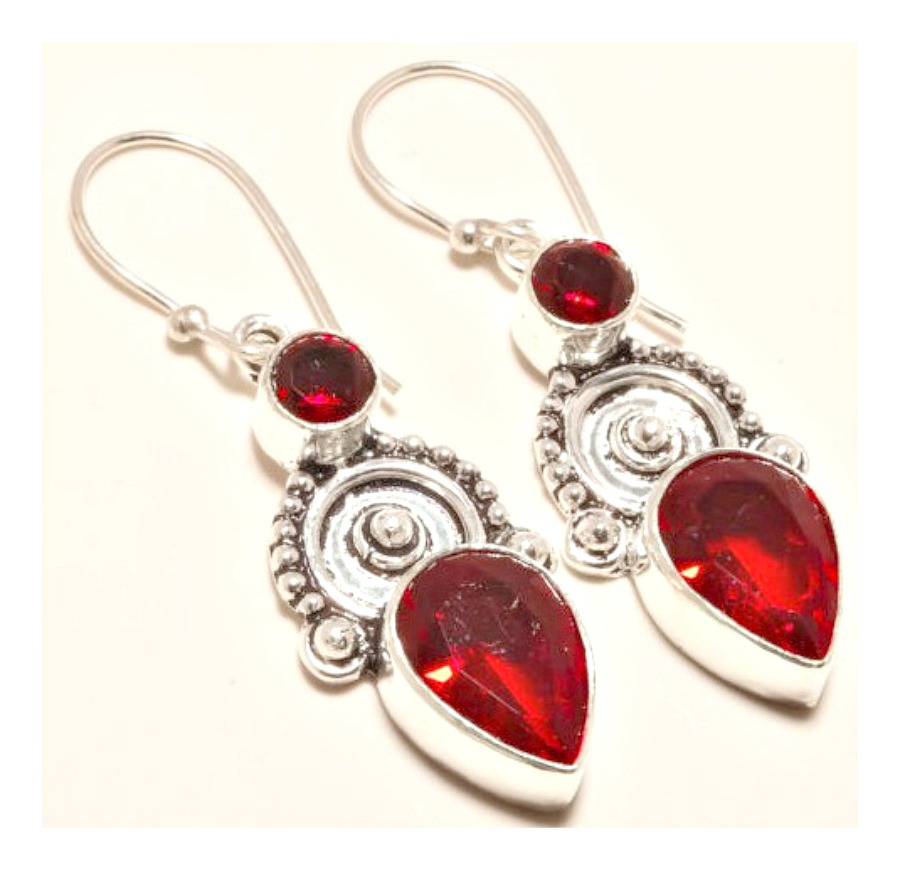 COWGIRL GYPSY EARRINGS Vintage Style Red Garnet Gemstone 925 Sterling Silver Earrings
