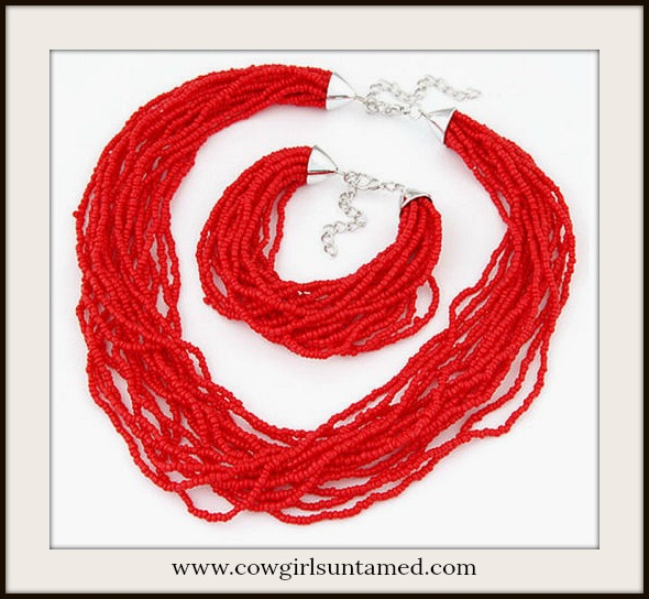 BOHEMIAN COWGIRL NECKLACE SET Red Coral Indian Beaded Multi Strand Necklace & Bracelet