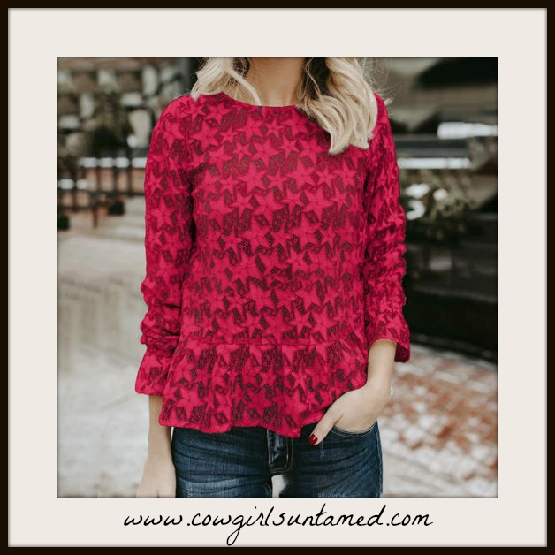 AMERICAN COWGIRL TOP Red or Beige Star Long Sleeve Blouse  2 COLORS