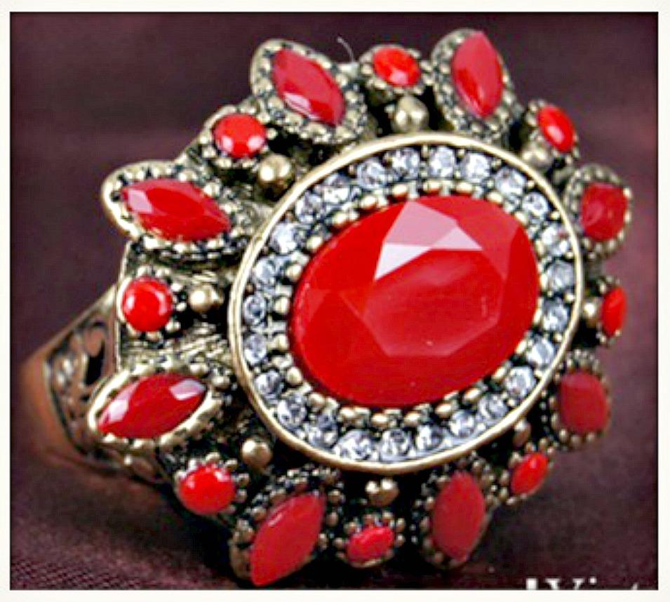 VINTAGE BOHEMIAN RING Red Stone & Crystal Antique Bronze Boho Ring