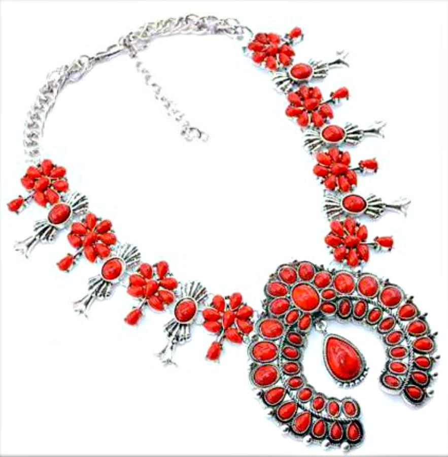 COWGIRL STYLE NECKLACE Tibetan Silver Red Turquoise Squash Blossom Necklace
