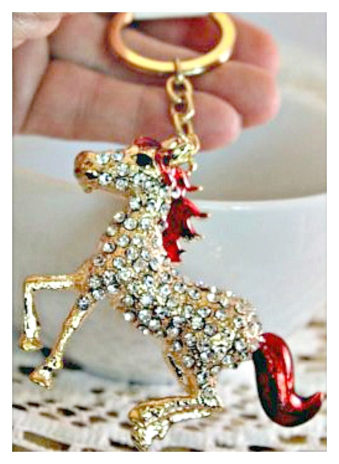 HORSE LOVIN' COWGIRL KEYCHAIN Beautiful Red Enamel and Golden Rhinestone Horse Keychain