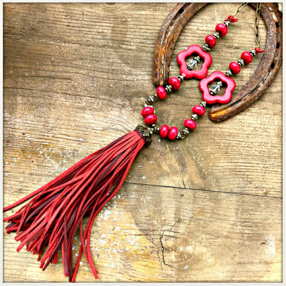 BOHEMIAN COWGIRL NECKLACE Antique Bronze Rhinestone Red Leather Tassel Turquoise Long Necklace