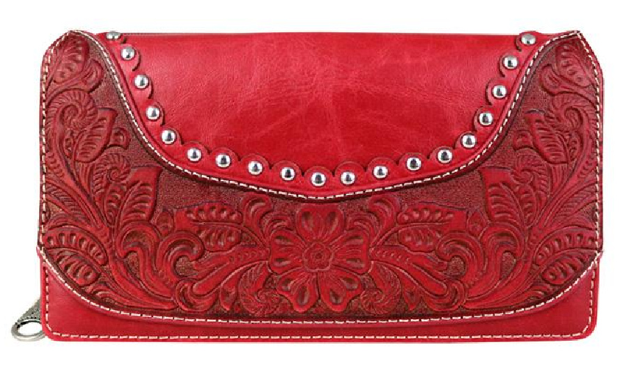 PRETTY IN RED WALLET Silver Studded Tooled Leather Zipper Top Womens Western Wallet