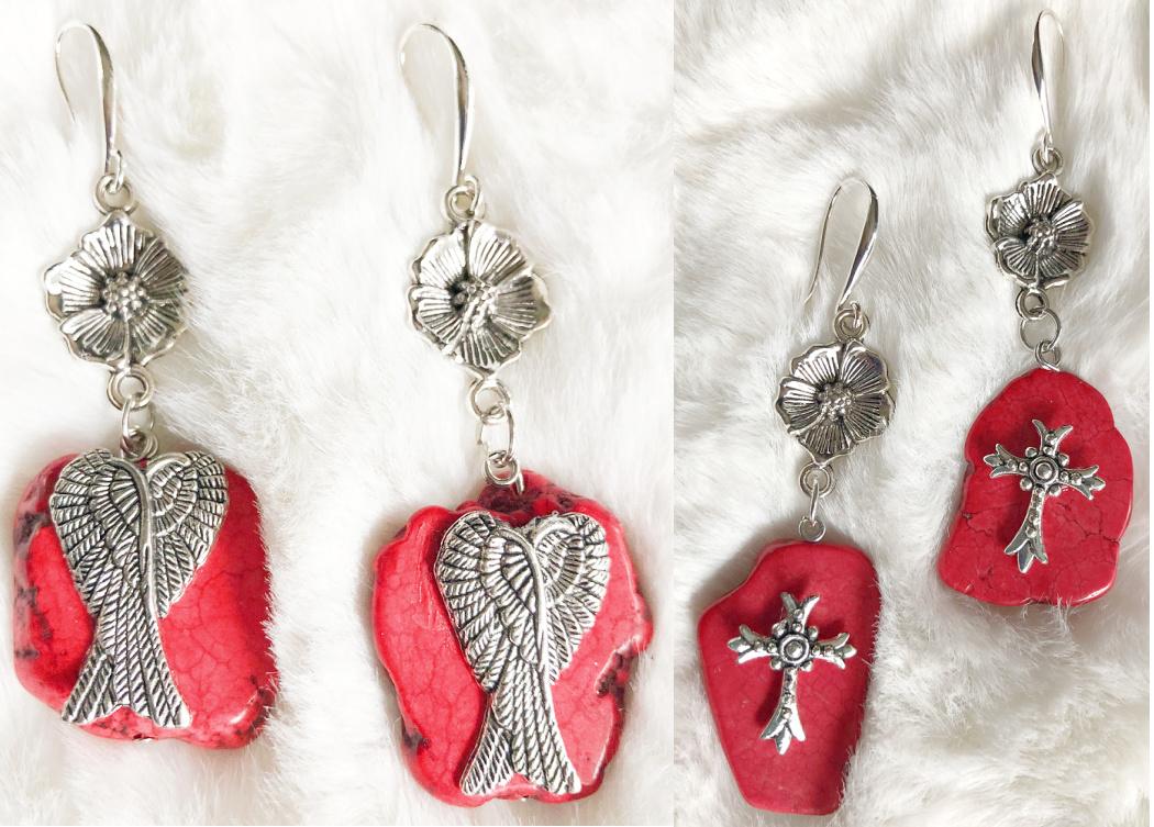 BLESS ME EARRINGS Handmade Red Turquoise Silver Floral Western Long Dangle Earrings 2 STYLES